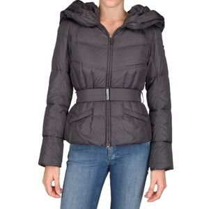 Add Down Belted Hooded Puffer Jacket